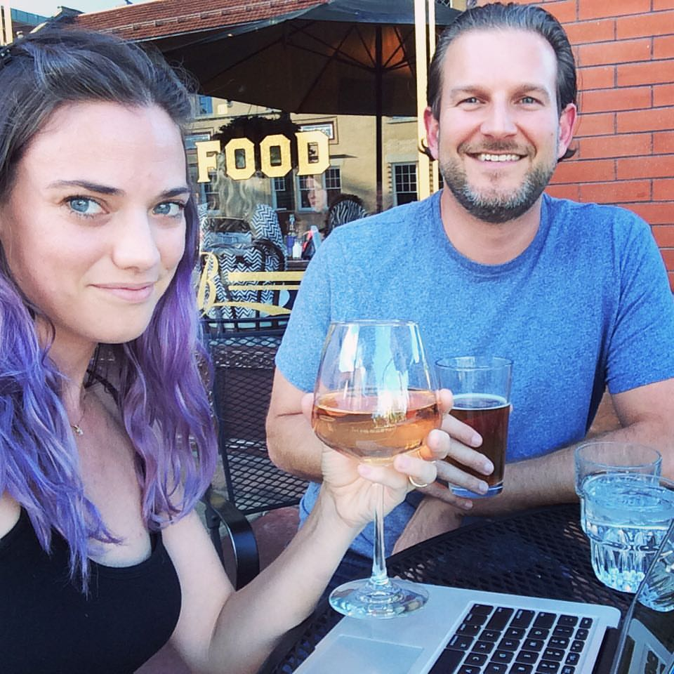 Typical Megan and Mike: writing, drinking, and eating.