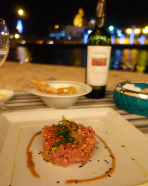 Tuna tartare and a side of water view at Marea by Rausch